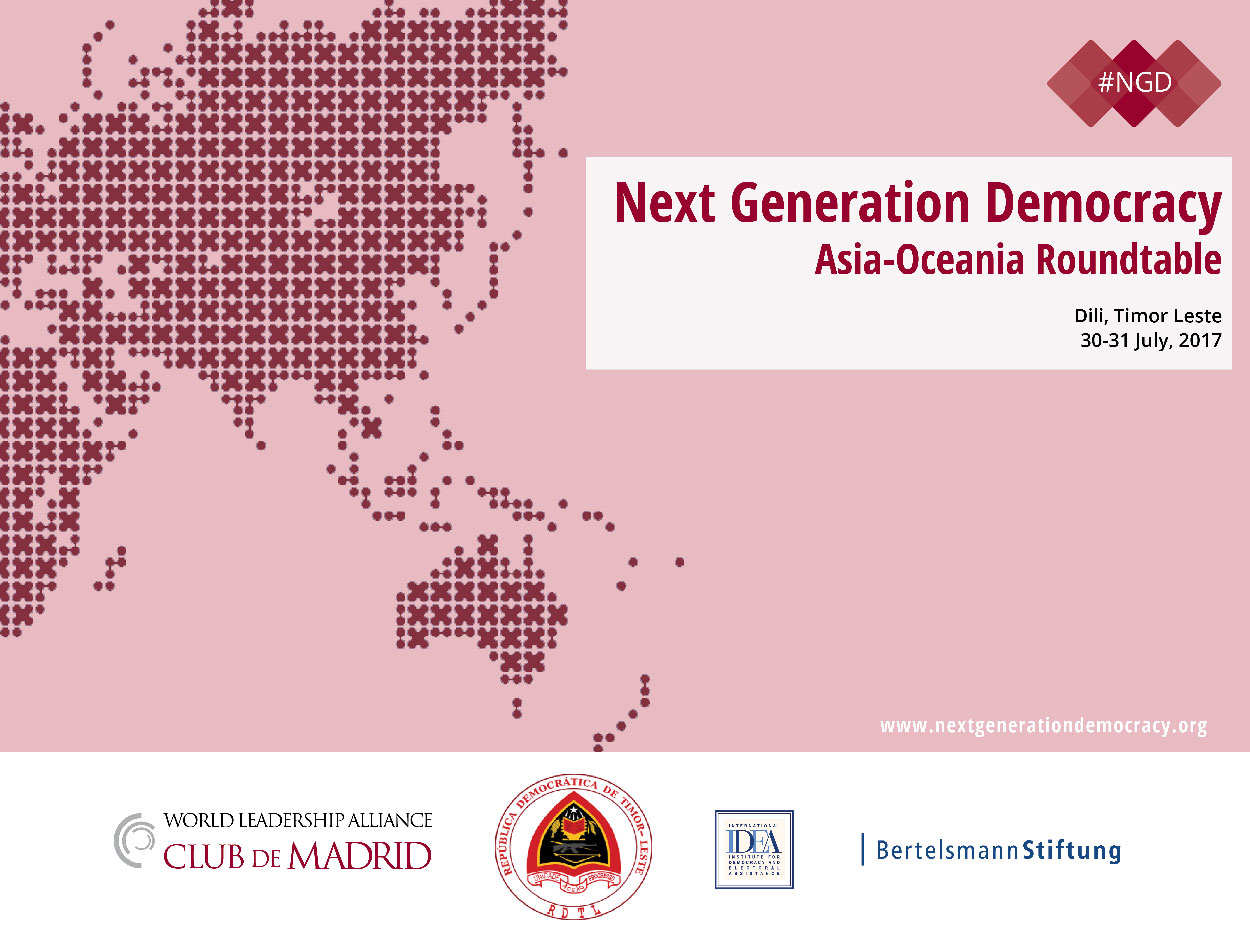 Rui Maria De Araujo & four Club de Madrid Members to participate in the NGD roundtable on the future of Democracy in Asia-Oceania